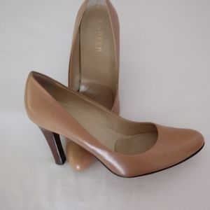 Ralph Lauren leather tan pumps